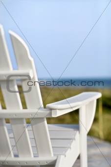 Adirondack chairs on Bald Head Island, North Carolina.