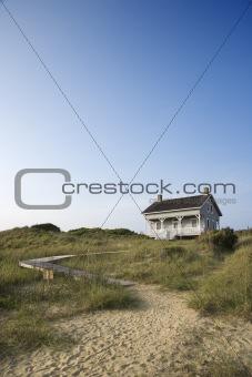 House with path to beach on Bald Head Island, North Carolina.