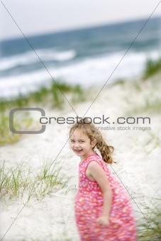 Girl on beach.