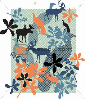 Animals and floral print.