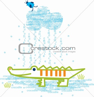Baby bird and cute little smiling crocodile in a rainy day.