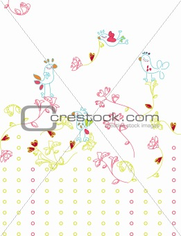 Delicate and feminine birds flying with heart shaped flower branches.