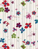 Floral print on stripes (seamless pattern).
