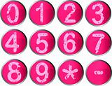 12 Pink Number Buttons