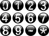Black Web Buttons with Numbers 0-9