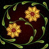 Yellow flowers on dark background