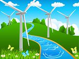 windmill and green landscape - vector illustration