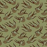 Songbird Seamless Pattern Brown