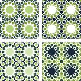 4 Islamic Star Patterns Green, Blue, White