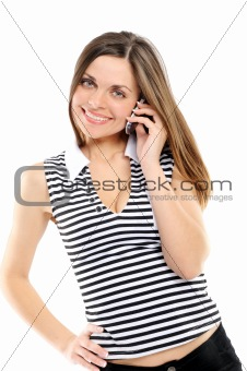 beautiful  woman speaks by phone, on a white background