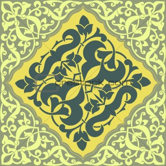 Arabesque Tile Yellow Green