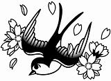 Songbird and Cherry Blossoms B&W