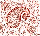 Indian Textile Pattern Brown White