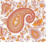 Indian Textile Pattern Red Orange