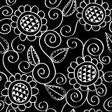 Seamless Floral Pattern Black and White