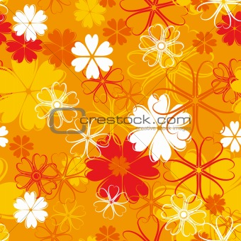 orange seamless flower pattern