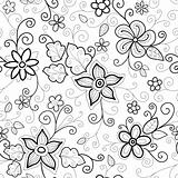 Floral Seamless Pattern Dashed