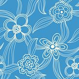 floral seamless pattern white on blue