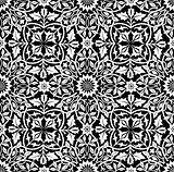 Intertwining Floral Seamless Pattern BW
