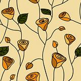 Rose seamless pattern yellow