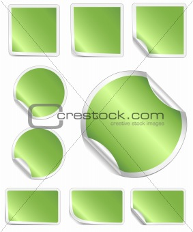 Green Peeling Stickers with White Border