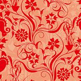 red seamless flower damask pattern