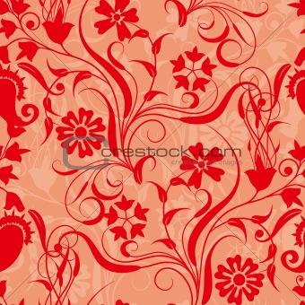 red seamless flower damask pattern