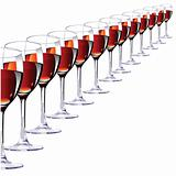 Thirteen glasses with red wine. Vector illustration
