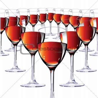Sixteen glasses with red wine. Vector illustration