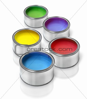 Tin cans with  color paints