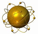 Golden atomium planet