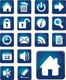set of blue elegant simple icons
