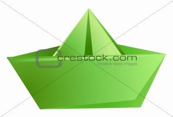 green paper ship