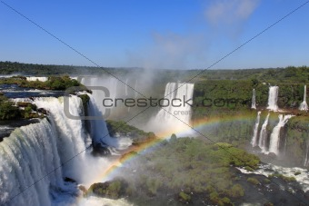 Iguassu waterfalls with rainbow