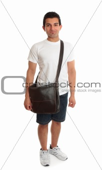 Casual student standing with bag