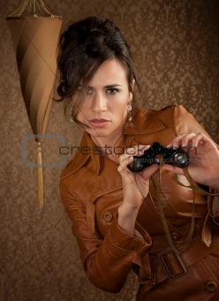 Beautiful Spy with Binoculars in Leather Coat