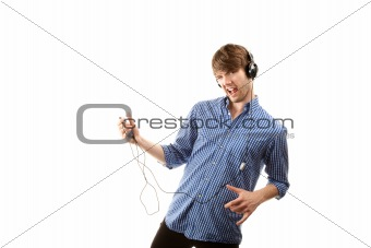 Tall handsome hipster man on white background with Headphones