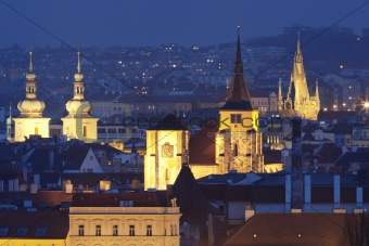czech republic, prague - spires of churches of the old town at dusk