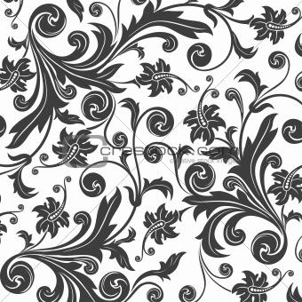 black flower seamless pattern