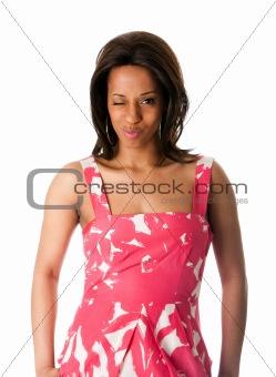 African business woman blinking eye