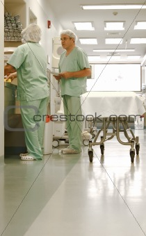 Two nurses talking at hospital