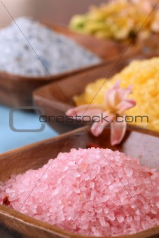 Bath salt in wooden bowls
