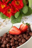Chocolate cereals with strawberries