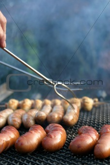 Sausage and mushroom barbecue