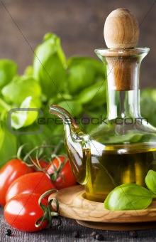 Olive oil, basil and vegetables