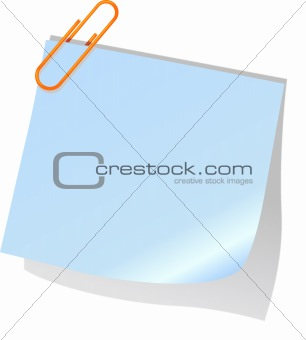 posted  note and red paperclip