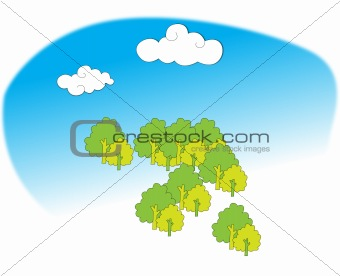 a group of tree under blue sky with cloud