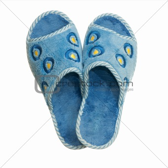 Pair of blue home slippers