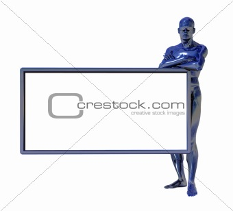 blue man figure and white board