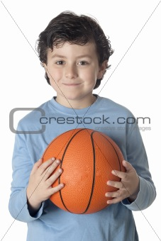 Beautiful child with basket ball